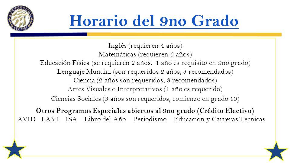 Horario del 9no Grado Inglés (requieren 4 años) Matemáticas (requieren 3 años) Educación Física (se requieren 2 años.