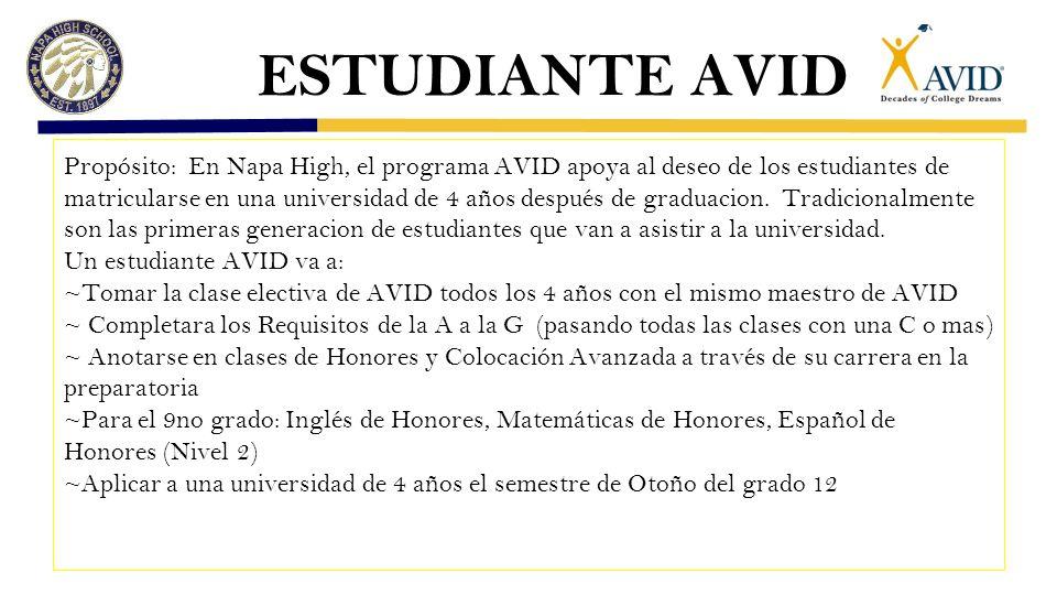 ESTUDIANTE AVID Propósito: En Napa High, el programa AVID apoya al deseo de los estudiantes de matricularse en una universidad de 4 años después de graduacion.