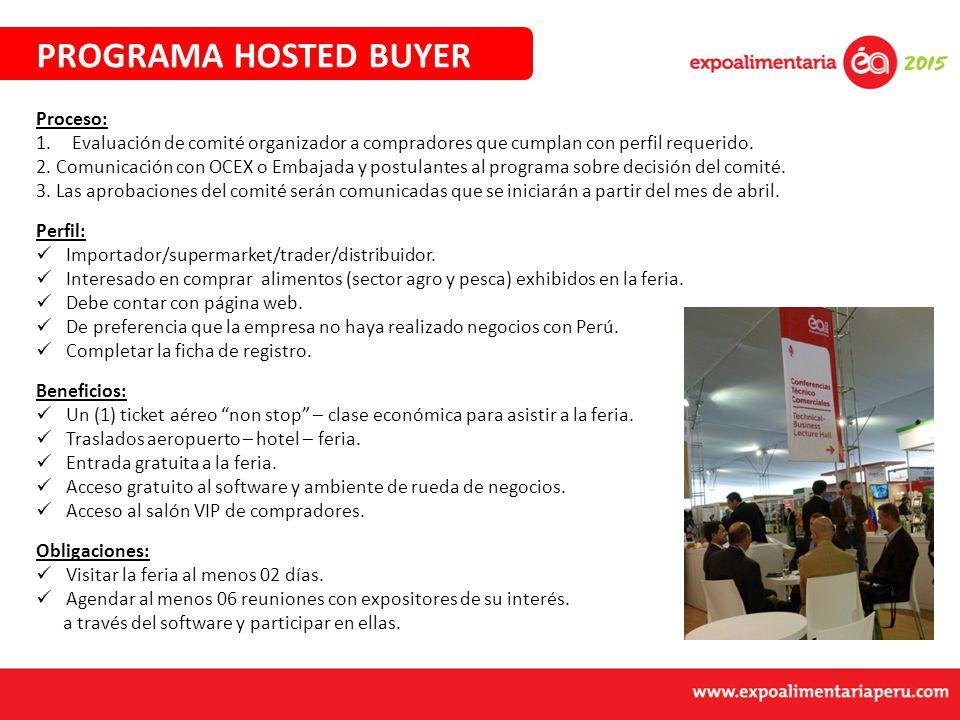 PROGRAMA HOSTED BUYER Proceso: 1.Evaluación de comité organizador a compradores que cumplan con perfil requerido.