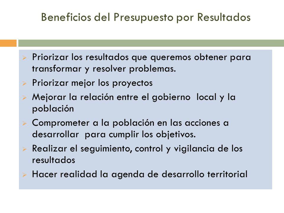 Beneficios del Presupuesto por Resultados  Priorizar los resultados que queremos obtener para transformar y resolver problemas.