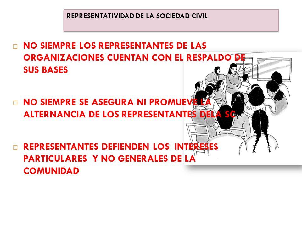  NO SIEMPRE LOS REPRESENTANTES DE LAS ORGANIZACIONES CUENTAN CON EL RESPALDO DE SUS BASES  NO SIEMPRE SE ASEGURA NI PROMUEVE LA ALTERNANCIA DE LOS REPRESENTANTES DELA SC  REPRESENTANTES DEFIENDEN LOS INTERESES PARTICULARES Y NO GENERALES DE LA COMUNIDAD REPRESENTATIVIDAD DE LA SOCIEDAD CIVIL