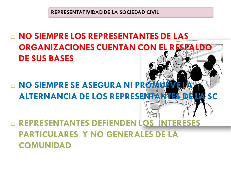  NO SIEMPRE LOS REPRESENTANTES DE LAS ORGANIZACIONES CUENTAN CON EL RESPALDO DE SUS BASES  NO SIEMPRE SE ASEGURA NI PROMUEVE LA ALTERNANCIA DE LOS REPRESENTANTES DE LA SC  REPRESENTANTES DEFIENDEN LOS INTERESES PARTICULARES Y NO GENERALES DE LA COMUNIDAD REPRESENTATIVIDAD DE LA SOCIEDAD CIVIL