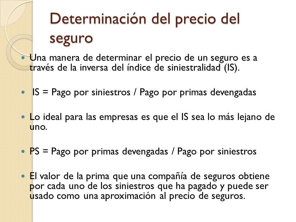 Determinación del precio del seguro Una manera de determinar el precio de un seguro es a través de la inversa del índice de siniestralidad (IS).