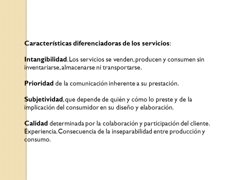 Características diferenciadoras de los servicios: Intangibilidad.