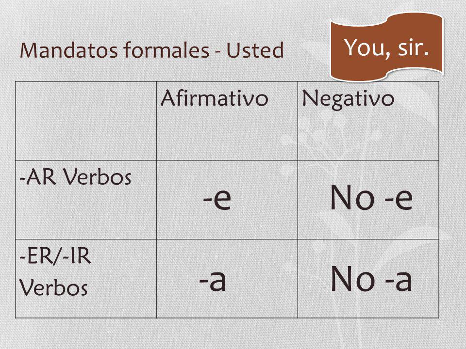 Mandatos formales - Usted AfirmativoNegativo -AR Verbos -ER/-IR Verbos -e -a No -e No -a You, sir.