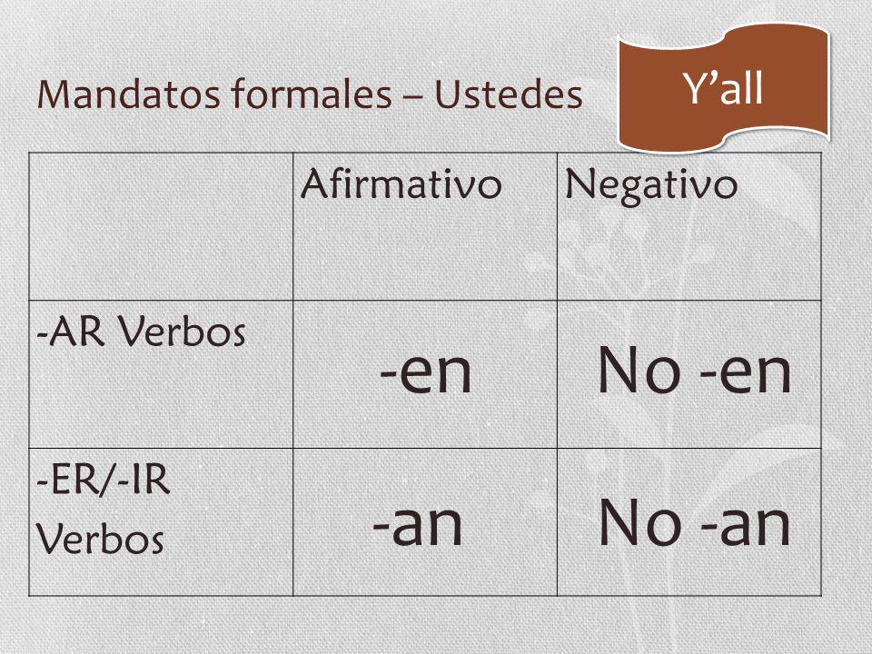Mandatos formales – Ustedes AfirmativoNegativo -AR Verbos -ER/-IR Verbos -en -an No -en No -an Y'all
