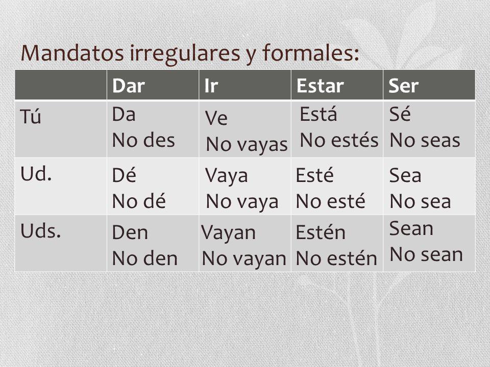 Mandatos irregulares y formales: DarIrEstarSer TúTú Ud.