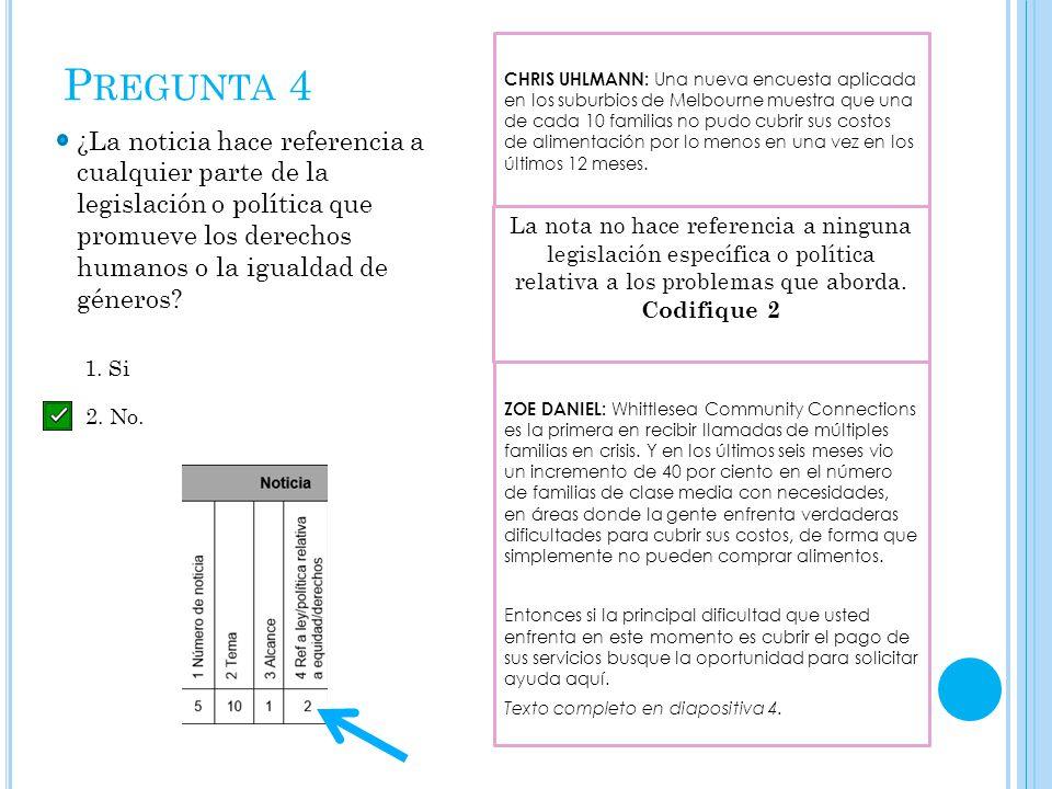 P REGUNTA 4 ¿La noticia hace referencia a cualquier parte de la legislación o política que promueve los derechos humanos o la igualdad de géneros.