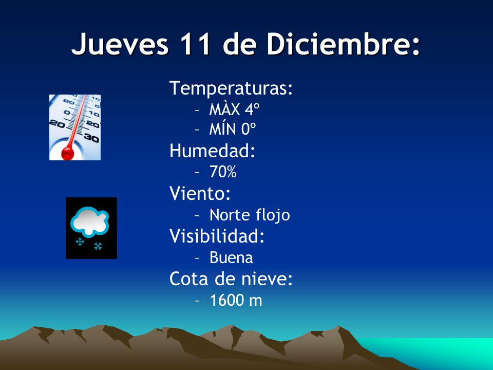 Jueves 11 de Diciembre: Temperaturas: –MÀX 4º –MÍN 0º Humedad: –70% Viento: –Norte flojo Visibilidad: –Buena Cota de nieve: –1600 m