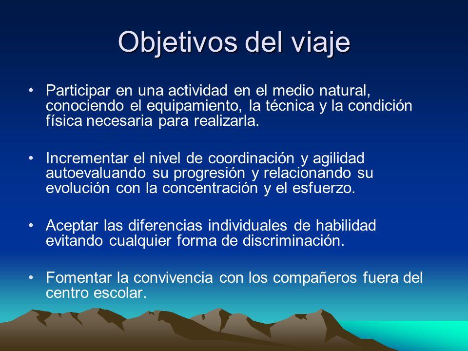Objetivos del viaje Participar en una actividad en el medio natural, conociendo el equipamiento, la técnica y la condición física necesaria para realizarla.