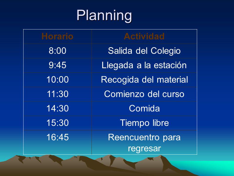 Planning HorarioActividad 8:00Salida del Colegio 9:45Llegada a la estación 10:00Recogida del material 11:30Comienzo del curso 14:30Comida 15:30Tiempo libre 16:45Reencuentro para regresar