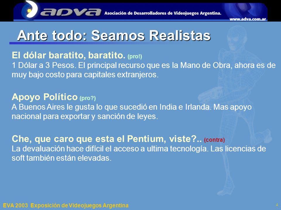 ECI 2003 Departamento de Computación – Facultad de Ciencias Exactas y Naturales – Universidad de Buenos Aires 4 Ante todo: Seamos Realistas El dólar baratito, baratito.