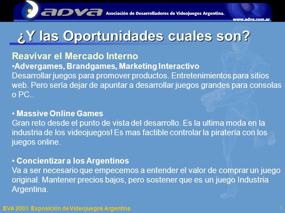 ECI 2003 Departamento de Computación – Facultad de Ciencias Exactas y Naturales – Universidad de Buenos Aires 5 ¿Y las Oportunidades cuales son.