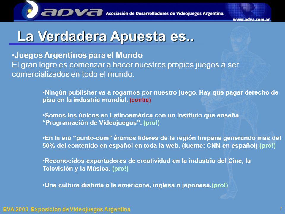 ECI 2003 Departamento de Computación – Facultad de Ciencias Exactas y Naturales – Universidad de Buenos Aires 7 La Verdadera Apuesta es..