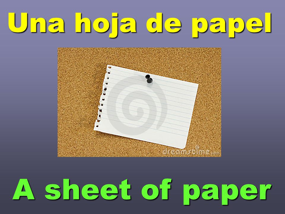 Una hoja de papel A sheet of paper