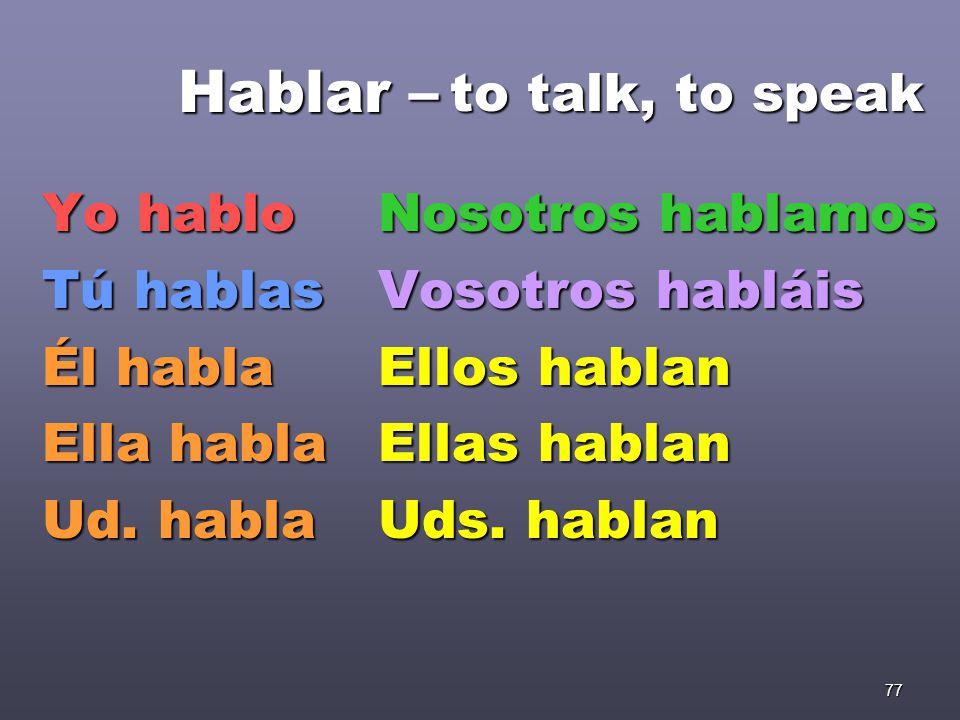 77 Hablar – Yo hablo Tú hablas Él habla Ella habla Ud.