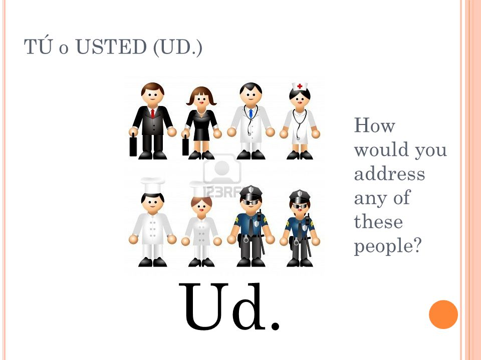 TÚ o USTED (UD.) How would you address any of these people Ud.