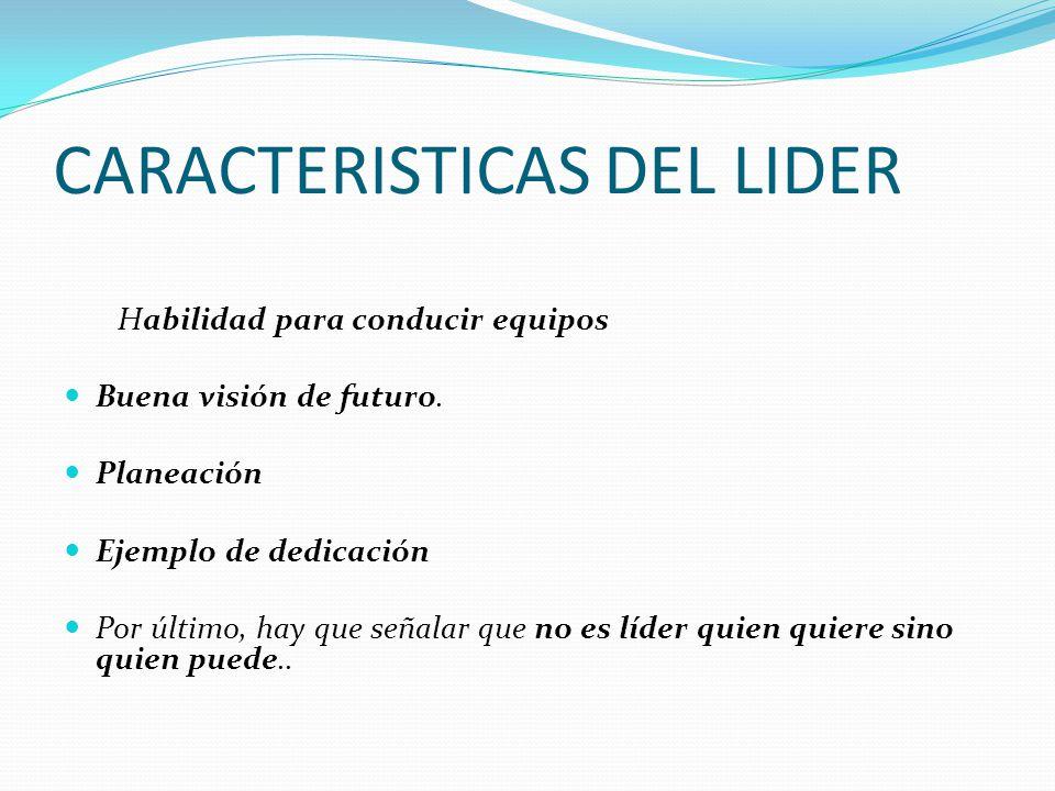 CARACTERISTICAS DEL LIDER Habilidad para conducir equipos Buena visión de futuro.