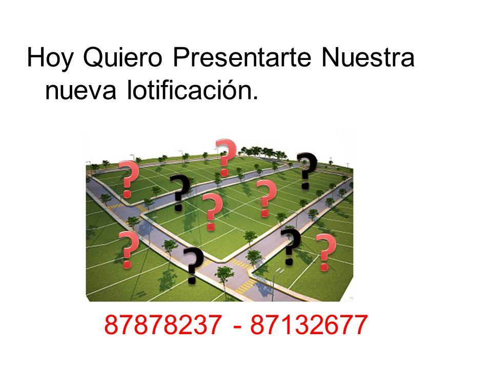Hoy Quiero Presentarte Nuestra nueva lotificación. 87878237 - 87132677