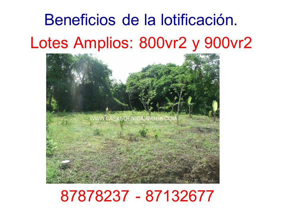 Beneficios de la lotificación. Lotes Amplios: 800vr2 y 900vr2 87878237 - 87132677