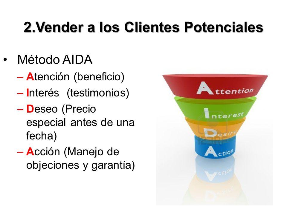 2.Vender a los Clientes Potenciales Método AIDA –Atención (beneficio) –Interés (testimonios) –Deseo (Precio especial antes de una fecha) –Acción (Manejo de objeciones y garantía)