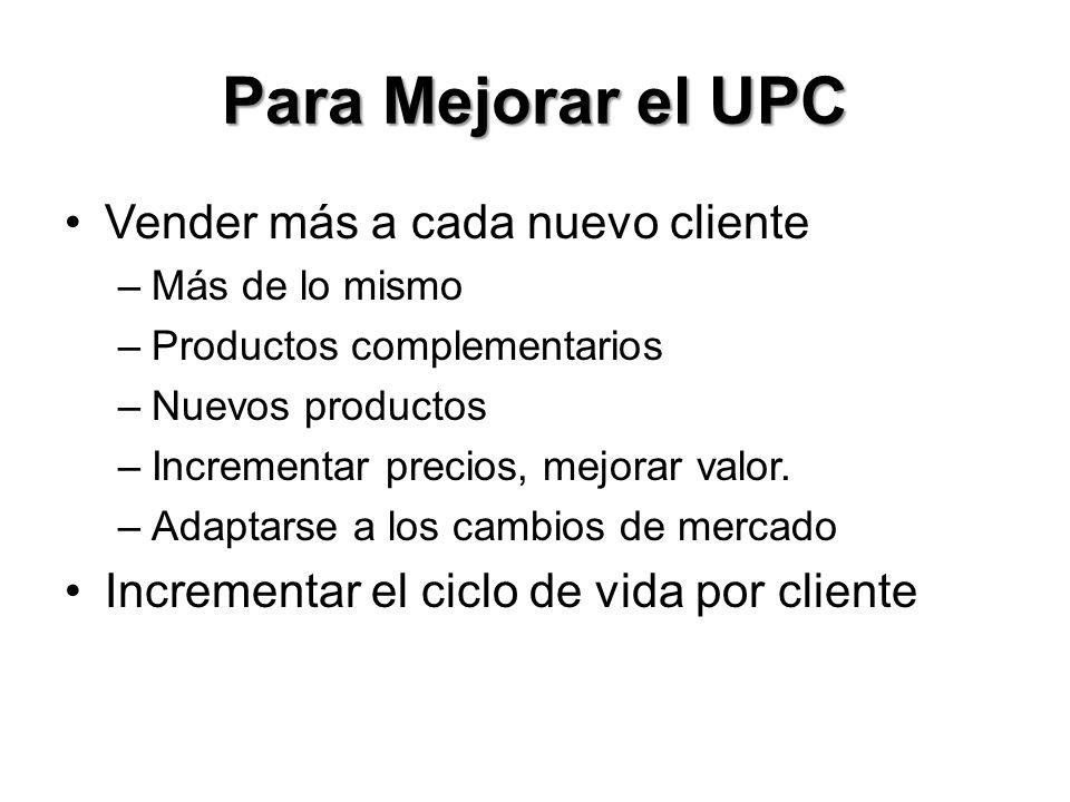 Para Mejorar el UPC Vender más a cada nuevo cliente –Más de lo mismo –Productos complementarios –Nuevos productos –Incrementar precios, mejorar valor.