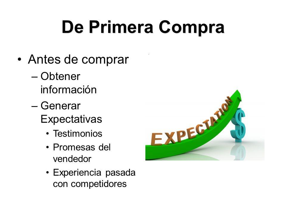 De Primera Compra Antes de comprar –Obtener información –Generar Expectativas Testimonios Promesas del vendedor Experiencia pasada con competidores.