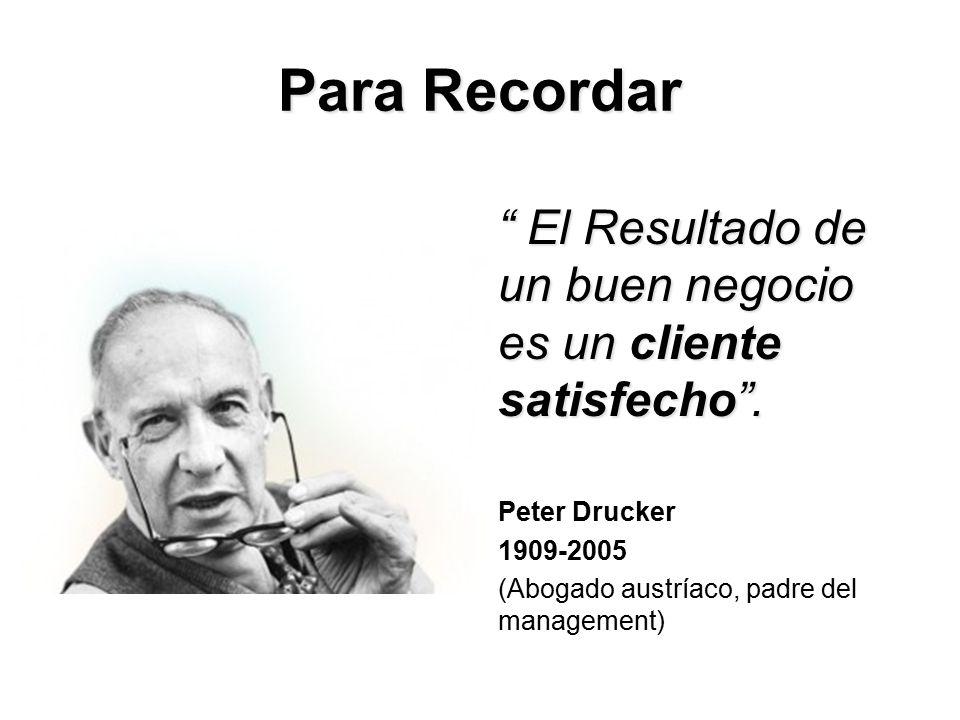 Para Recordar El Resultado de un buen negocio es un cliente satisfecho .