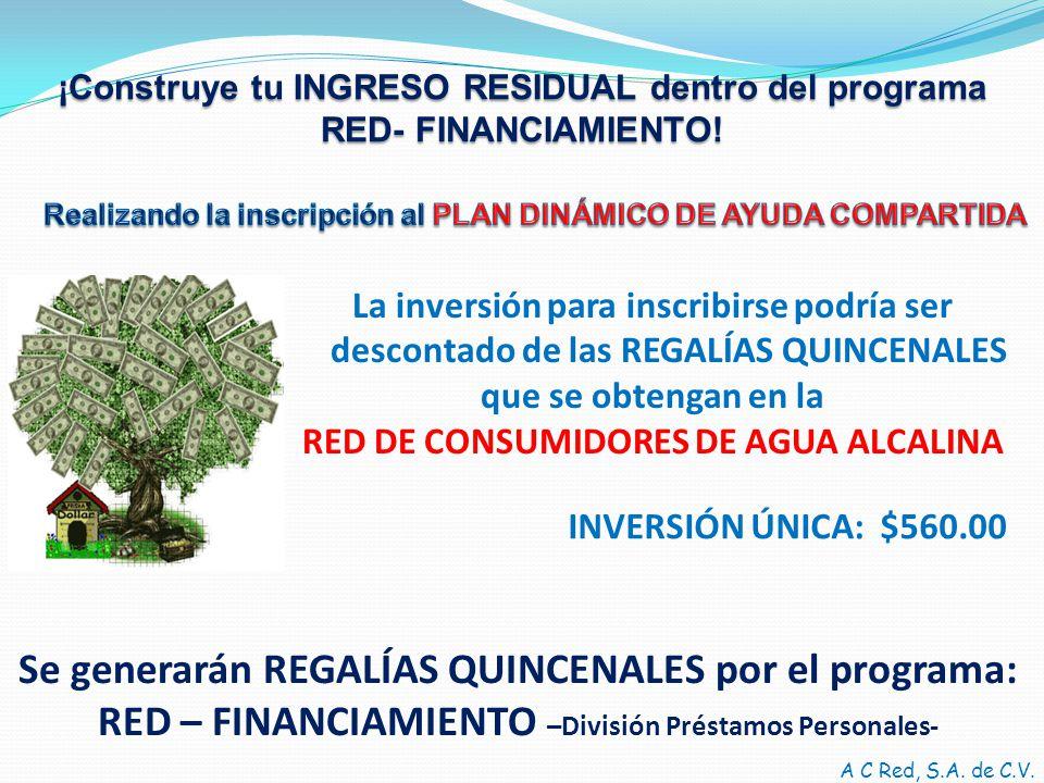 ¡Construye tu INGRESO RESIDUAL dentro del programa RED- FINANCIAMIENTO.
