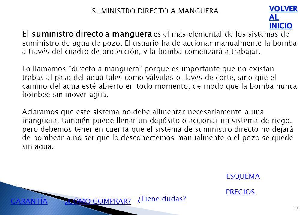 11 SUMINISTRO DIRECTO A MANGUERA El suministro directo a manguera es el más elemental de los sistemas de suministro de agua de pozo.