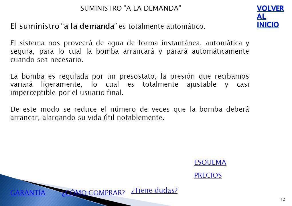 12 SUMINISTRO A LA DEMANDA El suministro a la demanda es totalmente automático.