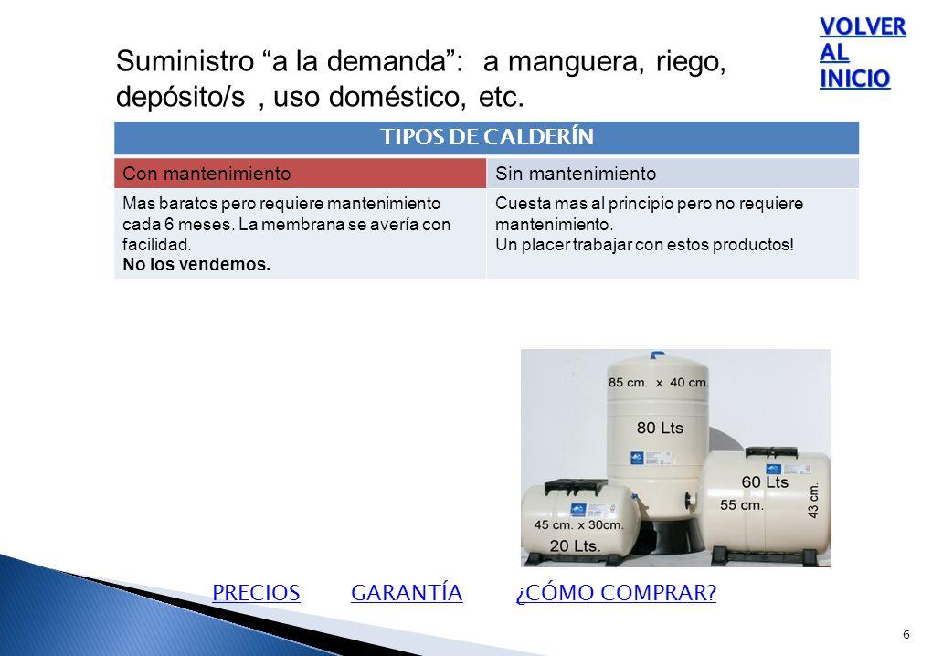 Suministro a la demanda : a manguera, riego, depósito/s, uso doméstico, etc.