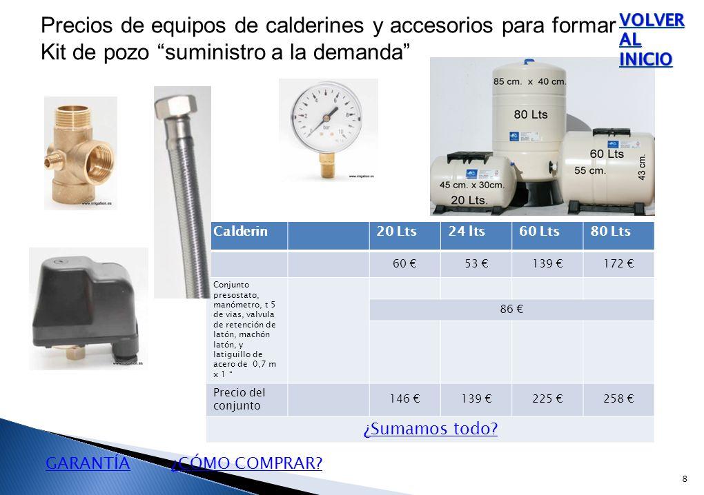 Calderin20 Lts24 lts60 Lts80 Lts 60 €53 €139 €172 € Conjunto presostato, manómetro, t 5 de vias, valvula de retención de latón, machón latón, y latiguillo de acero de 0,7 m x 1 86 € Precio del conjunto 146 €139 €225 €258 € ¿Sumamos todo.