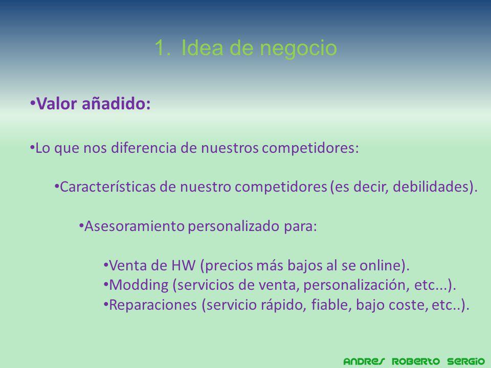 1.Idea de negocio Valor añadido: Lo que nos diferencia de nuestros competidores: Características de nuestro competidores (es decir, debilidades).