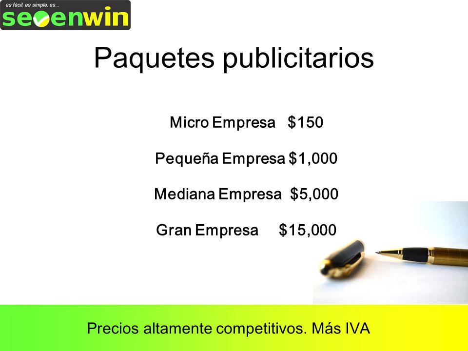 Paquetes publicitarios Micro Empresa $150 Pequeña Empresa $1,000 Mediana Empresa $5,000 Gran Empresa $15,000 Precios altamente competitivos.