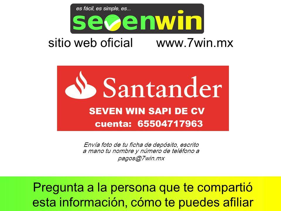 Pregunta a la persona que te compartió esta información, cómo te puedes afiliar sitio web oficial www.7win.mx Envía foto de tu ficha de depósito, escrito a mano tu nombre y número de teléfono a pagos@7win.mx