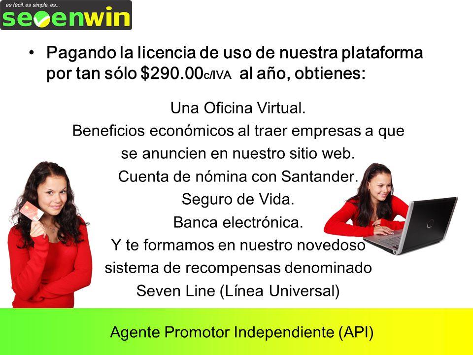 Agente Promotor Independiente (API) Pagando la licencia de uso de nuestra plataforma por tan sólo $290.00 c/IVA al año, obtienes: Una Oficina Virtual.