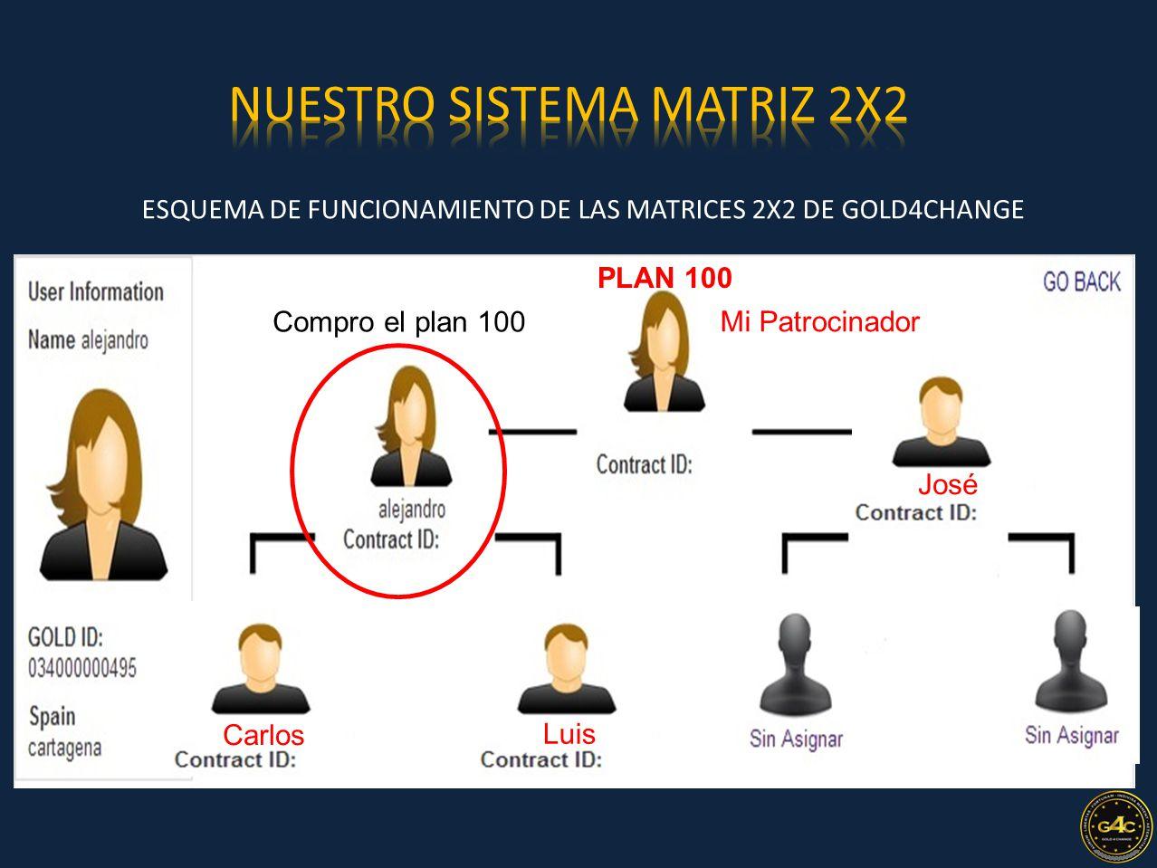 ESQUEMA DE FUNCIONAMIENTO DE LAS MATRICES 2X2 DE GOLD4CHANGE 2 Nivel Mi Patrocinador PLAN 100 Compro el plan 100 Carlos Luis José
