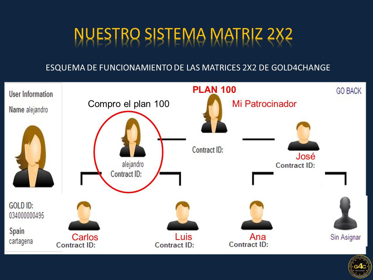 ESQUEMA DE FUNCIONAMIENTO DE LAS MATRICES 2X2 DE GOLD4CHANGE 2 Nivel Mi Patrocinador PLAN 100 Compro el plan 100 Carlos Luis José Ana