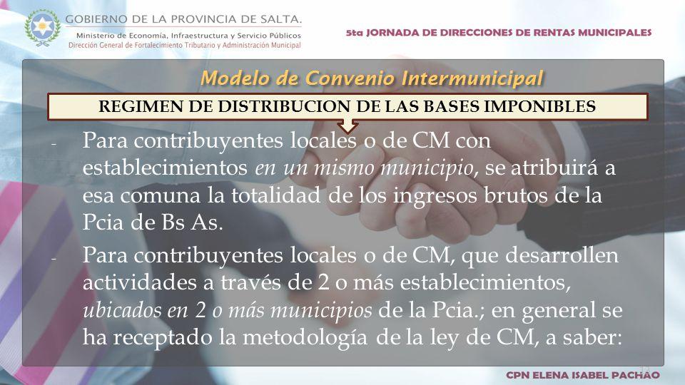 - Para contribuyentes locales o de CM con establecimientos en un mismo municipio, se atribuirá a esa comuna la totalidad de los ingresos brutos de la Pcia de Bs As.