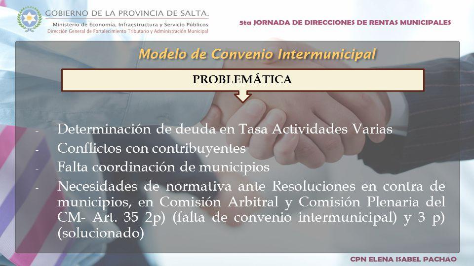 - Determinación de deuda en Tasa Actividades Varias - Conflictos con contribuyentes - Falta coordinación de municipios - Necesidades de normativa ante Resoluciones en contra de municipios, en Comisión Arbitral y Comisión Plenaria del CM- Art.