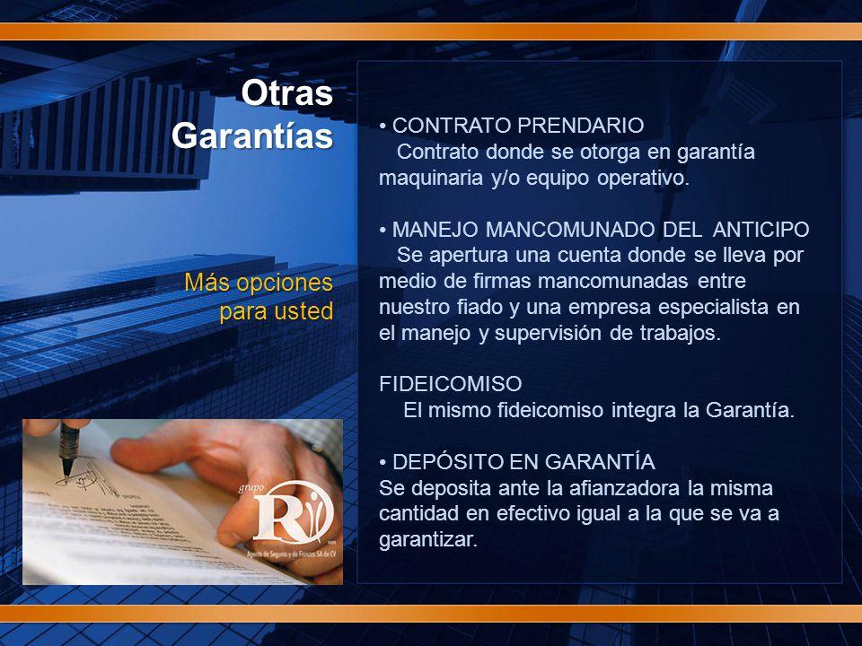 OtrasGarantías Más opciones para usted CONTRATO PRENDARIO Contrato donde se otorga en garantía maquinaria y/o equipo operativo.