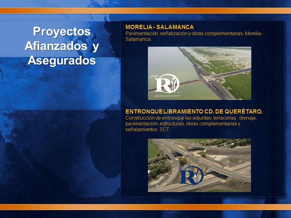 Proyectos Afianzados y Asegurados MORELIA - SALAMANCA Pavimentación, señalización y obras complementarias, Morelia - Salamanca.
