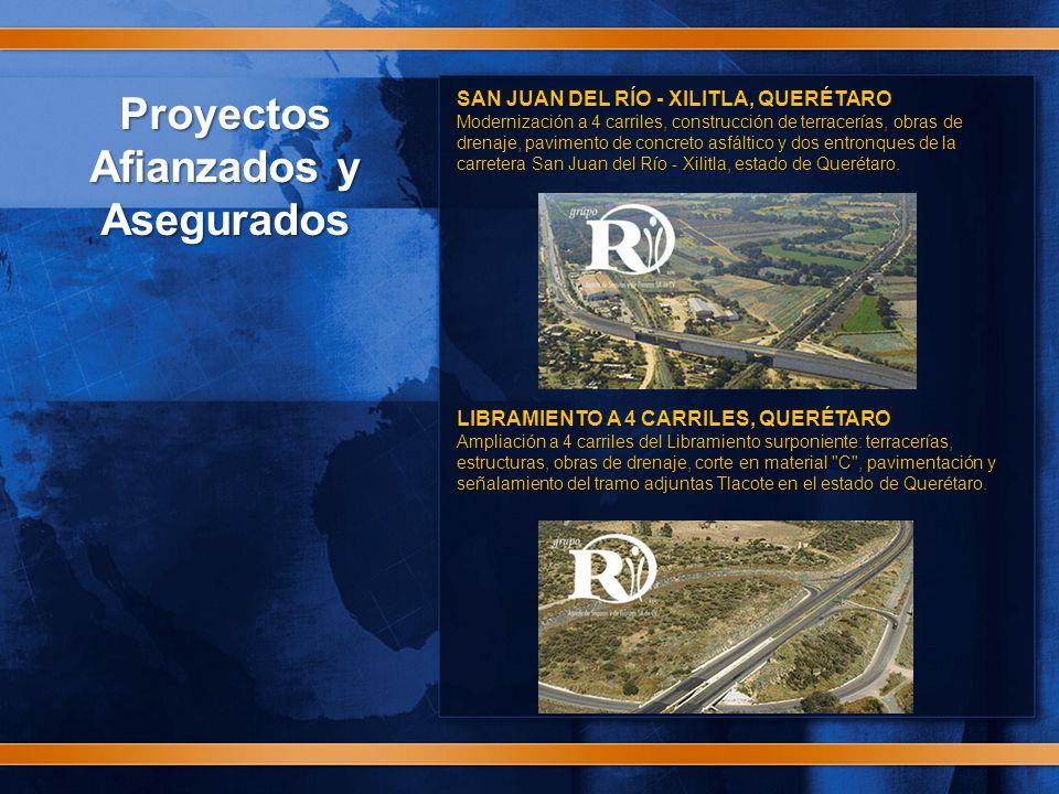 Proyectos Afianzados y Asegurados SAN JUAN DEL RÍO - XILITLA, QUERÉTARO Modernización a 4 carriles, construcción de terracerías, obras de drenaje, pavimento de concreto asfáltico y dos entronques de la carretera San Juan del Río - Xilitla, estado de Querétaro.