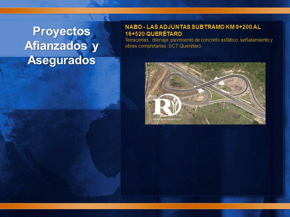 Proyectos Afianzados y Asegurados NABO - LAS ADJUNTAS SUBTRAMO KM 9+200 AL 16+520 QUERÉTARO Terracerías, drenaje, pavimento de concreto asfático, señalamiento y obras completarias.
