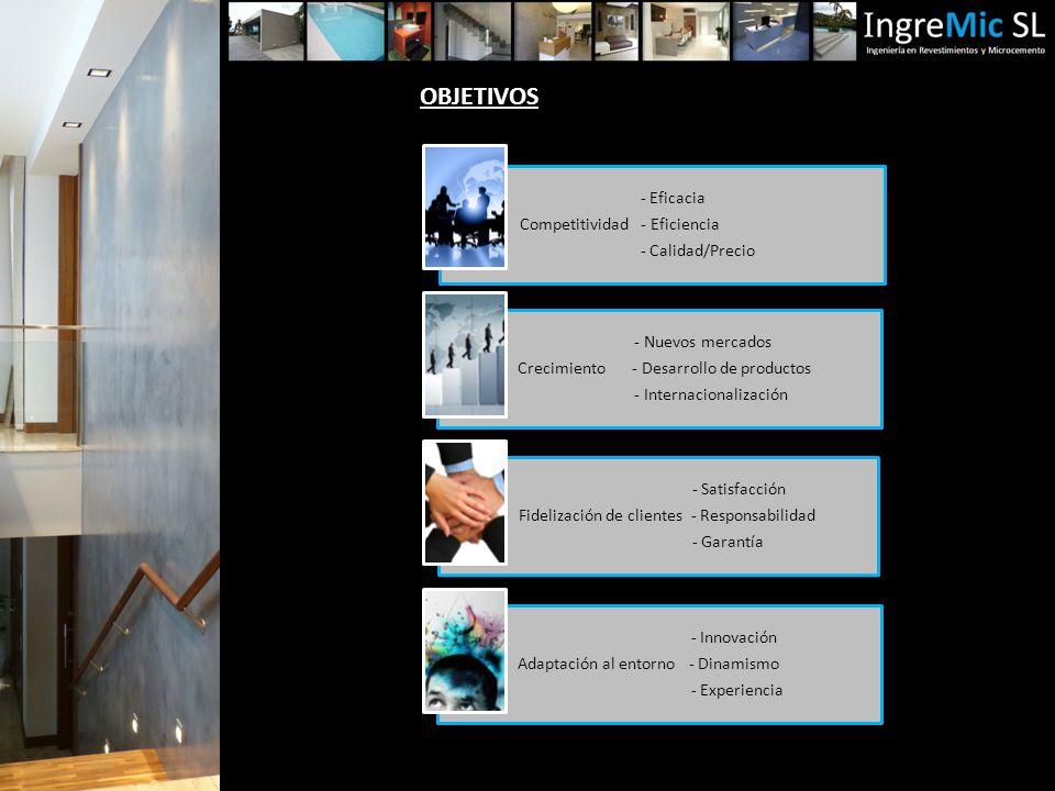 OBJETIVOS - Eficacia Competitividad - Eficiencia - Calidad/Precio - Nuevos mercados Crecimiento - Desarrollo de productos - Internacionalización - Satisfacción Fidelización de clientes - Responsabilidad - Garantía - Innovación Adaptación al entorno - Dinamismo - Experiencia