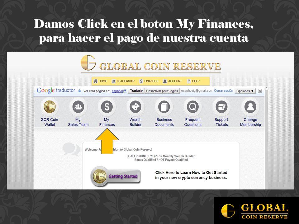 Damos Click en el boton My Finances, para hacer el pago de nuestra cuenta