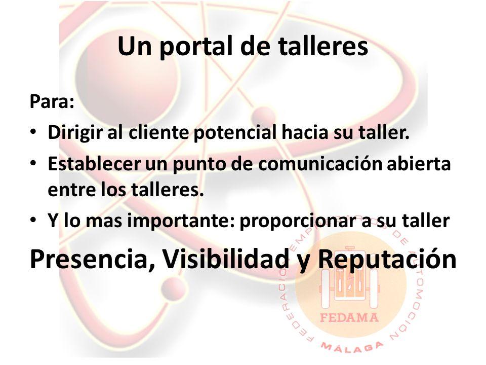 Un portal de talleres Para: Dirigir al cliente potencial hacia su taller.