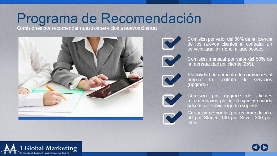 Your COmpany www.yourcompa ny.com Comisiones por recomendar nuestros servicios a nuevos clientes Programa de Recomendación Comision por valor del 50% de la licencia de los nuevos clientes al contratar un servicio igual o inferior al que posees.