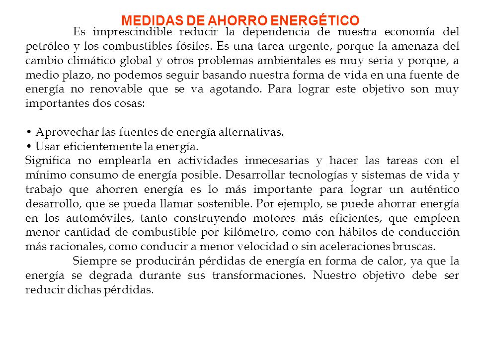 EL AHORRO DE ENERGÍA Ciencias para el mundo contemporáneo